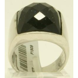 Sortija de Plata con Piedra sintética central en Negro